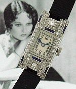 Early Deco and absolutely STUNNING, this solid platinum, diamond and sapphire-laden Glycine wrist watch extols all the virtues of the late Art Nouveau, early Art Deco era, circa 1920.