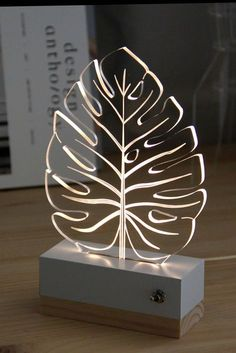 Items similar to Leaf tropical monstera//nightlight // lamp // nature // modern decoration // led // plexiglas // gift idea on Etsy Table Lamp Wood, Wood Lamps, Luminaire Design, Lamp Design, Lampe 3d, Trophy Design, Laser Cutter Projects, 3d Laser, Night Lamps