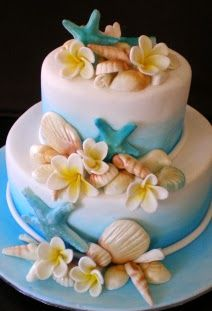 Beach Wedding Cake Ideas - with orchids instead