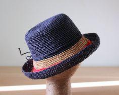 214e283e58b Raffia straw bucket hat Navy Natural Red Nautical hat