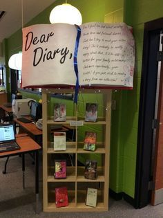 This creative, crafty DIY library display is a great way to make a bookshelf filled with epistolary books for YA readers pop. School Library Displays, Middle School Libraries, Library Themes, Elementary Library, Library Design, Library Ideas, School Library Decor, Library Decorations, Public Libraries