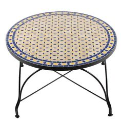 """Mosaik-Tischplatten können auch einfach auf ein Couchtisch-Gestell gelegt werden. """"Buri"""" blau, natur, gelb. www.albena-shop.de"""
