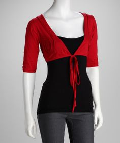 Red Front-Tie Shrug - Women | something special every day