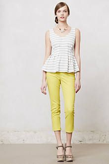 Pleated Peplum V-Neck