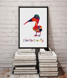 Pelican Watercolor Print Wall Art Quote Poster by MimiPrints