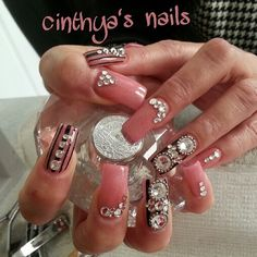 """#nudenails#barbienails#longnails#silvernails#naildesign#cutenails#nailart#nailporn#instanails#prettynails#squarenails#fakenails#acylic#acrylicnails#junknails#idinails#nails#nailz#cinthyasnails#lovenails#swarovski#blacknails"""