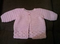 Family, Books and Crochet.: Pretty In Pink Sweater - Free Pattern Sponsored By: Grandma's Crochet Shop Crochet Baby Cardigan Free Pattern, Crochet Baby Jacket, Crochet Baby Sweaters, Gilet Crochet, Newborn Crochet Patterns, Baby Sweater Patterns, Baby Girl Crochet, Crochet Baby Clothes, Crochet Bebe