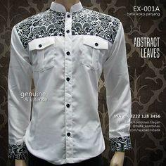 Koko Batik Kombinasi, Baju Batik Modern, Batik Koko Eksklusif, Kemeja Batik Pria, Batik Warna Putih, Baju Koko Panjang