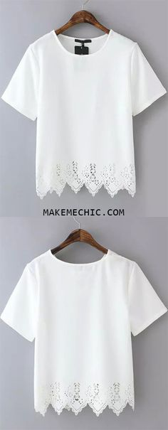 White Short Sleeve Lace Hem Chiffon T-Shirt
