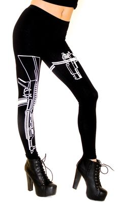 Guns Out Machine Gun Leggings in Black (Plus Sizes Available)