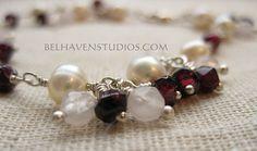Luminous white Freshwater pearls garnets and by BelhavenStudios