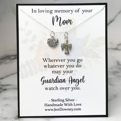 In loving memory of your mom Wherever you gowhatever you domay your Guardian Angelwatch over you Whether you're looking for a meaningful keepsake to give to someone who has recently lost their mom or it's the anniversary of death for a loved one and you want to give a sympathy gift as a reminder that although someone may no longer be with us on earth, they are always with us in spirit, this beautiful sterling silver necklace makes a thoughtful gift idea. A sterling silver mom heart charm and a Sympathy Gift Baskets, Sympathy Gifts, Sympathy Cards, Personalized Memorial Gifts, Sympathy Quotes, Grieving Quotes, Losing A Loved One, In Loving Memory