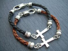Leather Bracelet Cross Cross Bracelet Mens by UrbanSurvivalGearUSA