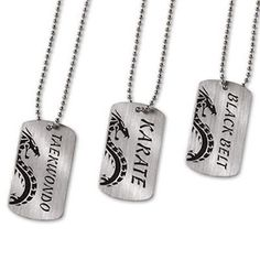 "Dog Tags Necklace Karate Martial Arts Black Belt taekwondo c132687 These molded metal dog tags prominently identify your martial art style. Includes a 24"" chain. Size: 2"" X 1-1/4"" Styles: Dragon/Taekw"