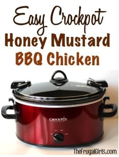 Easy Crockpot Honey Mustard BBQ Chicken Recipe! ~ from TheFrugalGirls.com {it's so easy and SO yummy!} #slowcooker #recipes