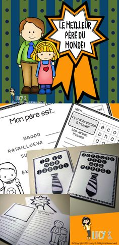 $ Father's day activities in French - la fête des pères - also includes alternative versions for kids with no fathers - word unscramble, words search, foldable mini-book, writing