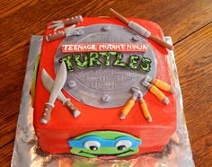 Teenage Mutant Ninja Turtles - Teenage Mutant Ninja Turtles cake for one of the coolest lil dudes!! This is an 8in square cake, all homemade buttercream frosting and homemade candy clay details! All edible!