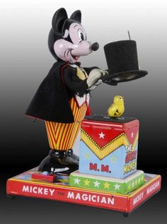 Lot # : 1392 - Walt Disney Linemar Mickey the Magician Toy. Disney Toys, Disney Mickey, Walt Disney, Retro Toys, Vintage Toys, Toys In The Attic, Cartoon Books, Disney Secrets, Vintage Mickey Mouse