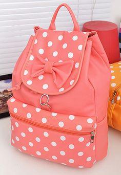 [grzxy6200078]Sweet Fresh Polka Dot Print Bowknot Backpack