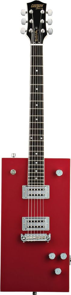The distictively rectangular and blazing red Electromatic® Bo Diddley model features dual chrome humbucking pickups, a bolt-on maple neck with rosewood fingerboard, adjustable bridge, volume and tone controls, three-way pickup switch and die-cast tuners.  G5810 Bo Diddley by Gretsch® Electric Guitars