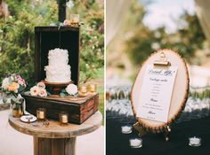rustic wedding cake - good set up to protect the cake from children!