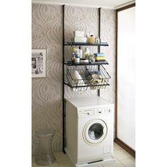 洗濯機パンに収まるクリアブラックランドリーラック棚2段・バスケット2個(天井高210〜260cm対応)