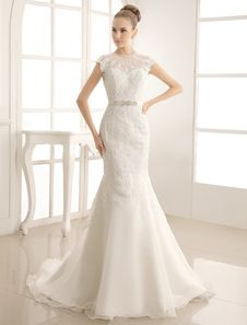 High Collar Lace Brides Wedding Dress With Beading Sash. Get unbelievable discounts up to 60% Off at Milanoo using Coupon & Promo Codes.