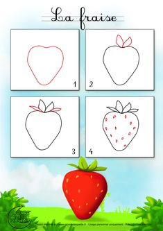 how to draw a strawberry Art Drawings For Kids, Easy Drawings, Art For Kids, Crafts For Kids, Basic Drawing For Kids, Drawing Lessons, Art Lessons, Strawberry Drawing, Painted Rock Cactus