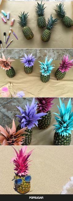 "Nothing Says ""I Love Summer"" Like These DIY Painted Pineapples"