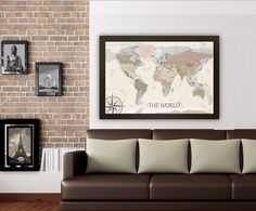 Personalized push pin world map old world charm 24x36 inches push pin modern world map in an old world style mounted on foam core and comes with push pins custom sizes available around 200 for a brand gray or gumiabroncs Gallery