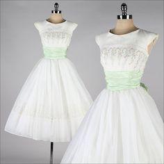 vintage 1950s dress . white chiffon . flocked by millstreetvintage, $225.00