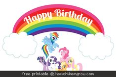 FREE PRINTABLE rainbow cake topper or party signs for a My Little Pony Rainbow Dash birthday party!