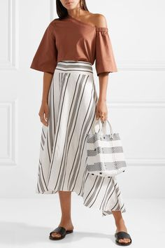 Truss - Small Crossbody Striped Woven Raffia-effect Shoulder Bag - White