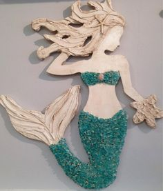Mermaid Wall Art Beach Decor Handmade Wood by LucyDesignsonline