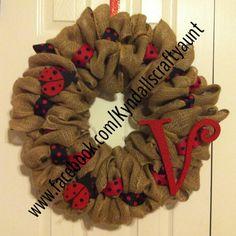 Burlap & ladybug wreath
