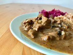 Gospodyni Miejska: Grzybowy gulasz z pręgi wołowej Meat, Chicken, Food, Essen, Meals, Yemek, Eten, Cubs