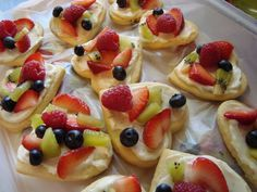Mini Fruit Pizzas with Lime cream cheese // Sugar Cookie Dough – can use store-bought.   1 - 8 oz. cream cheese, soft 1/3 c sugar zest and juice of 1 lime Fruits Melted White chocolate to drizzle on top Roll dough-cut (heart shape cookie cutter) Bake-cool. Mix cheese, sugar, zest, & juice then spread. Top with fruits then drizzle with chocolate