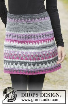 Color Of Winter - free crochet skirt pattern in sizes by DROPS design. Crochet Bodycon Dresses, Crochet Skirts, Black Crochet Dress, Knit Skirt, Crochet Clothes, Skirt Pattern Free, Crochet Skirt Pattern, Crochet Patterns, Free Pattern