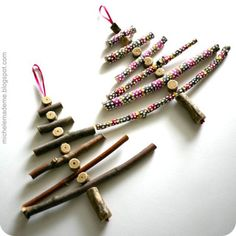 truebluemeandyou:  DIY Twiggy Christmas in July. From the same woman who brought you summer wind chimes here. Tutorial for these sweet trees, painted or natural, from Michele Made Me here.  Looks really easy to make and you end up with a one of a kind ornament/decoration.
