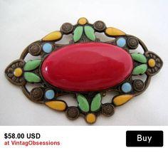Art Deco Brooch Red Czech Enamel Stone Pin