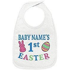 35cb17730 Personalized Baby Clothes Personalized Baby s First Easter Custom Baby Bib  White