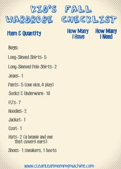 Clean Lean Mommy Machine: Kids Fall Wardrobe Checklist