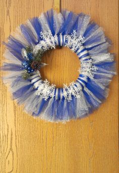 Festive Blue and Silver Winter Wreath by DelightfullySassi on Etsy, $30.00