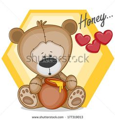 Cute Teddy bear with honey - stock vector