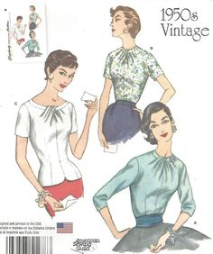 UNCUT MISSES' BLOUSE BEAUTIFUL DRAPED NECKLINE SLEEVE VARIAIONS SEWING PATTERN