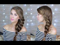 Красивая прическа на каждый день: коса на бок на длинные волосы (видео)
