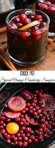 Crock Pot Spiced Orange Cranberry Sangria | from willcookforsmiles.com #cocktail #drink #holiday