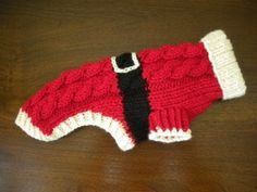 Santa Dog Sweater Cable Knit Christmas by bychancedesigns Crochet Dog Clothes, Crochet Dog Sweater, Dog Sweater Pattern, Dog Pattern, Pet Clothes, Dog Clothing, Dog Clothes Patterns, Cat Sweaters, Christmas Knitting