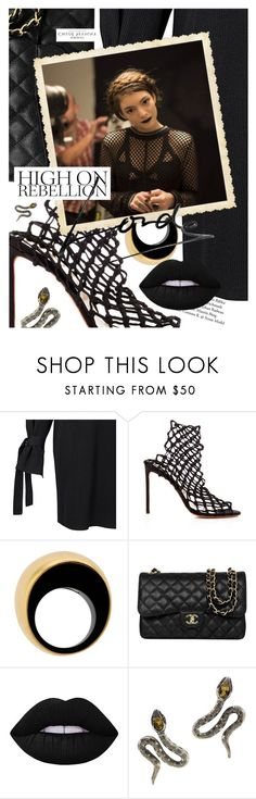 """Get the Look: Lorde"" by cultofsharon ❤ liked on Polyvore featuring Francesco Russo, Vhernier, Chanel, Lime Crime and Chloé"