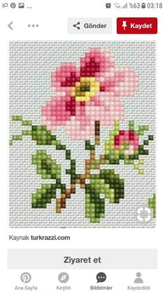 Scheme for cross stitch- Rose - Cross stitch pattern - Emb Cactus Cross Stitch, Cross Stitch Heart, Cross Stitch Borders, Counted Cross Stitch Kits, Cross Stitch Flowers, Cross Stitch Designs, Cross Stitching, Cross Stitch Patterns, Hand Embroidery Stitches